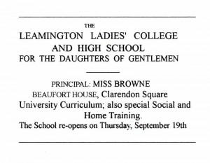 Miss E A Browne, 1852 – 1939