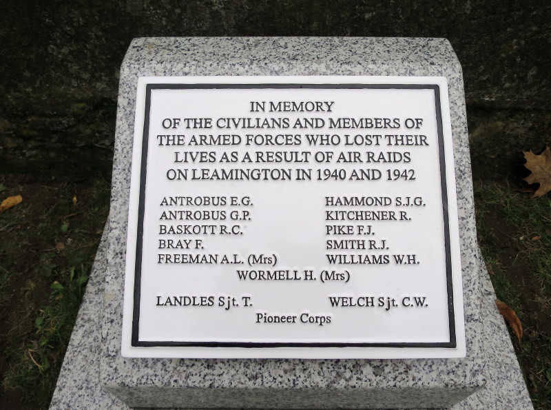 Bombing, Memorial to those who died in Leamington Spa in World War II