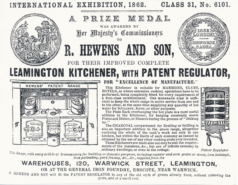 Richard Hewens, Leamington Ironfounder, Ironmonger and Inventor